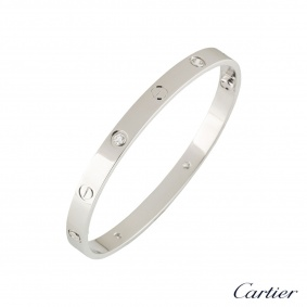 Cartier White Gold Half Diamond Love Bangle Size 19 B6035819